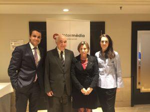 Albert Ortas, director general d'Intermèdia; Toni Rodríguez, president d'Intermèdia; Carme Forcadell, presidenta del Parlament; Aina Rodríguez, adjunta a direcció d'Intermèdia